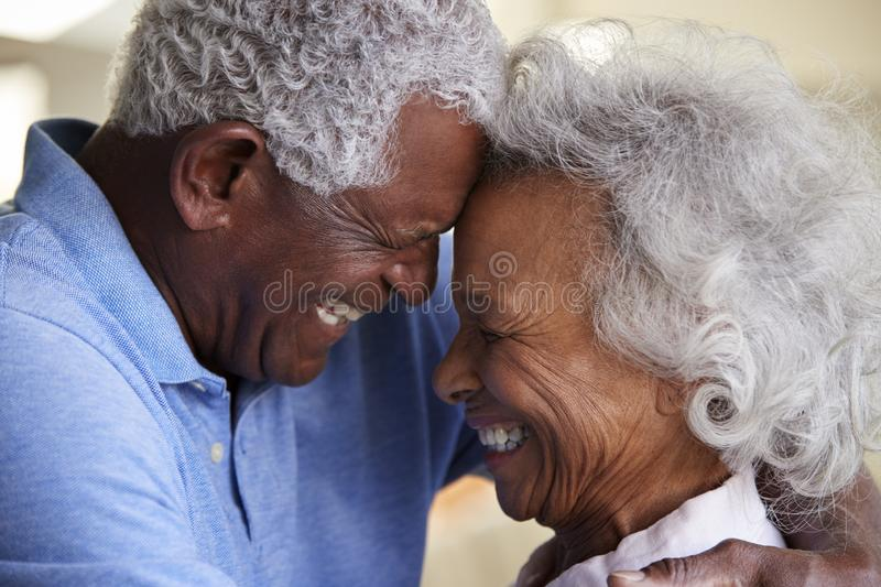 Profile Shot Loving Senior Couple Head To Head At Home Together royalty free stock photos