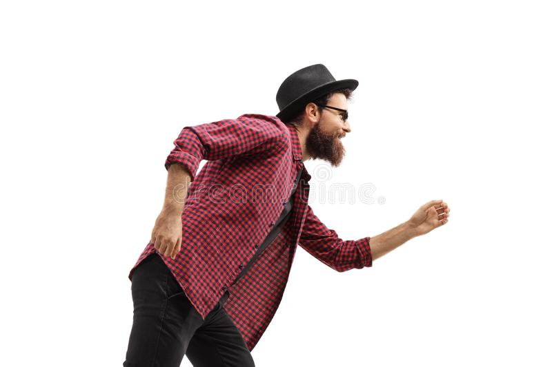 Profile shot of a man dancing stock image