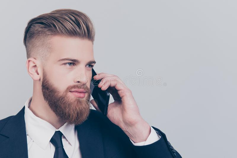 Profile side half-faced view portrait of serious intelligent clever handsome with mustache executive financier banker manager stock photography