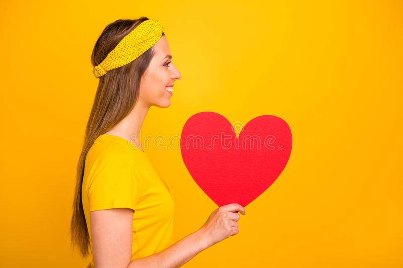 Profile side photo of candid millennial holding big heart for valentine day looking with beaming smile isolated over royalty free stock photos