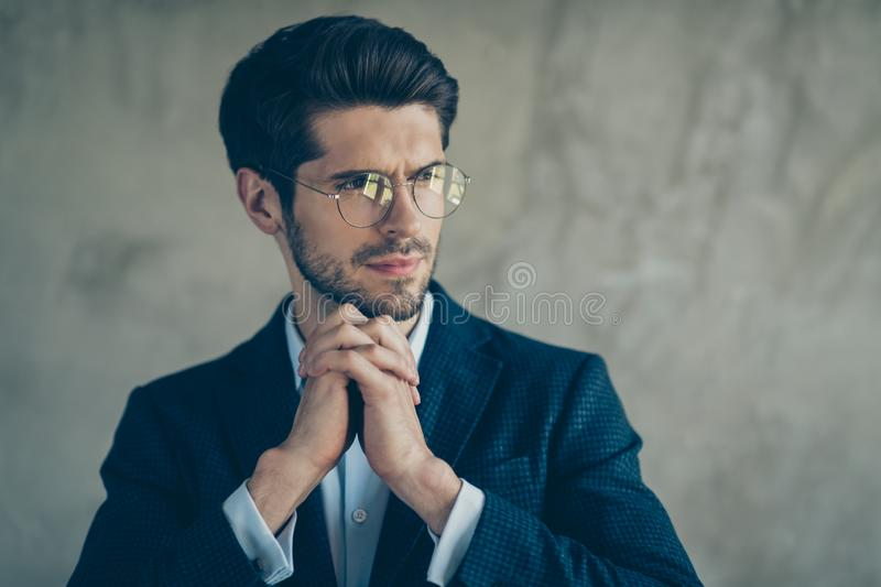 Profile side photo of minded thoughtful rich wealthy businessman look copyspace dream about career wear modern outfit royalty free stock image