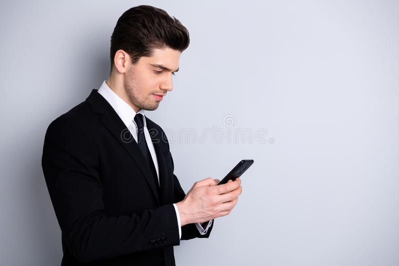 Profile side photo trendy successful entrepreneur executive communicate search news decide solve startup problems. Worried much work use user modern technology royalty free stock photography