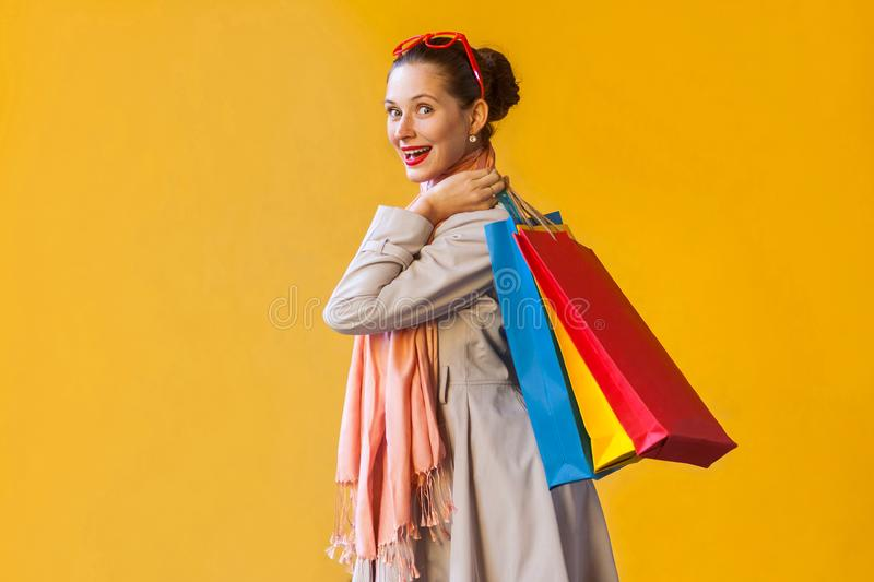 Profile, side view beautiful and happiness shopaholic girl with stock images