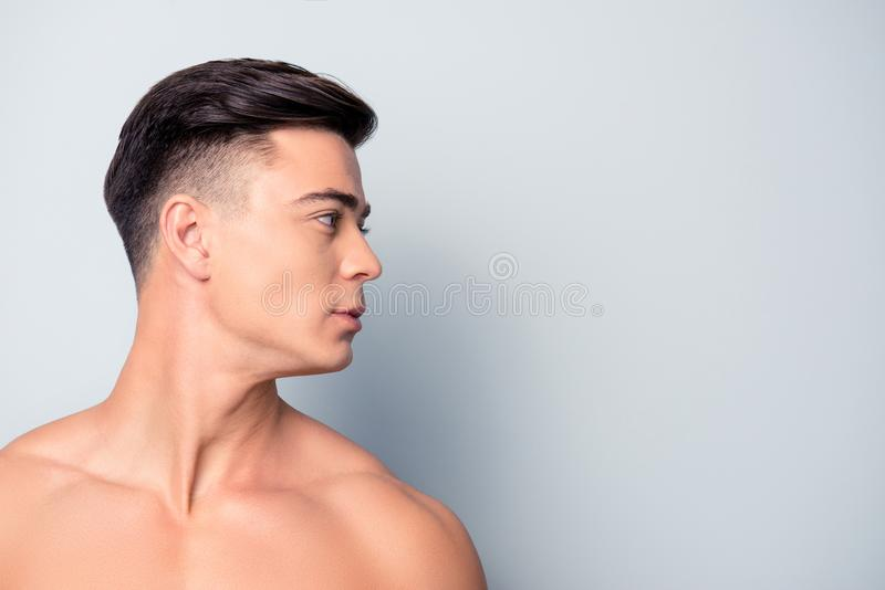 Profile side view half-faced close up portrait of confident hand royalty free stock photography