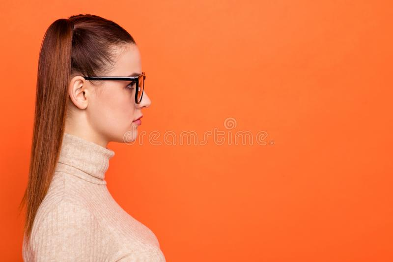 Profile side view photo of concentrated lady true expert nerd focused contemplate think solve problems decide turtleneck. Profile side view photo of concentrated stock photo
