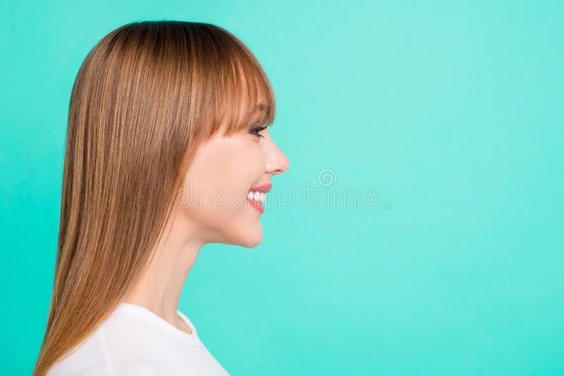 Profile side view photo of cute girlish people person youth wear modern spring fringe clothing  ready solve. Choose choice decide decision on turquoise royalty free stock images