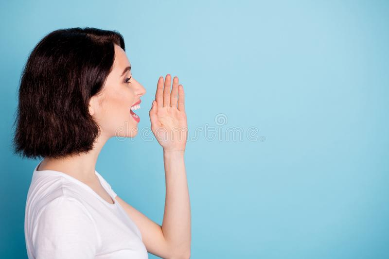 Profile side view portrait of her she nice attractive lovely cheerful cheery girl sharing saying new info copy space. On bright vivid shine, vibrant blue stock photos