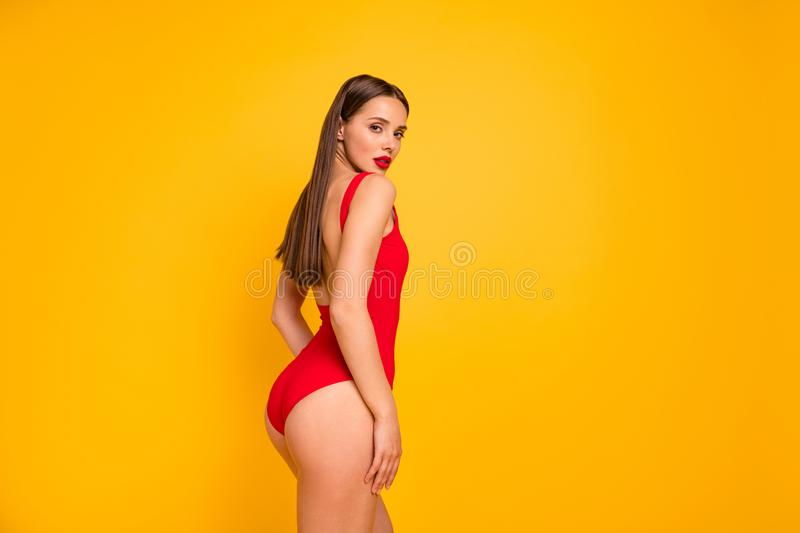 Profile side view portrait of her she nice-looking attractive glamorous lovely chic charming adorable straight-haired stock photo