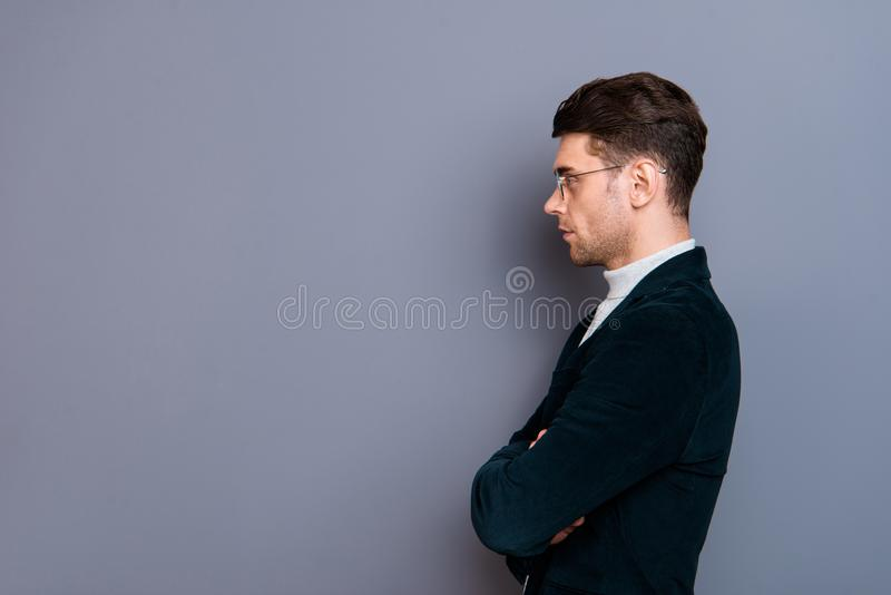 Profile side view portrait of his he handsome attractive bearded candid peaceful calm guy wearing velveteen blazer copy. Space thinking isolated over gray stock image