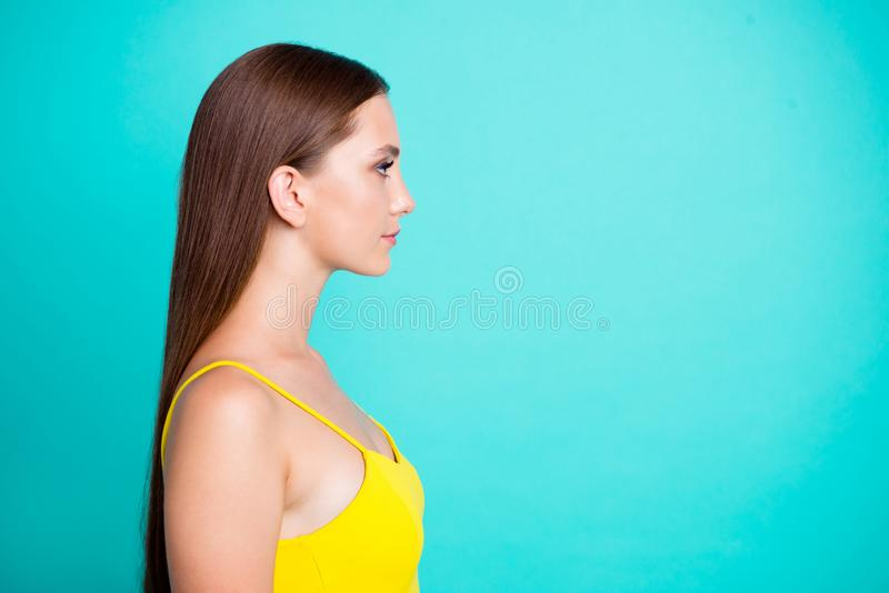 Profile side view portrait of nice calm positive attractive cute. Sweet tender straight-haired girl with long hair, copy empty blank place, space, isolated over stock photo