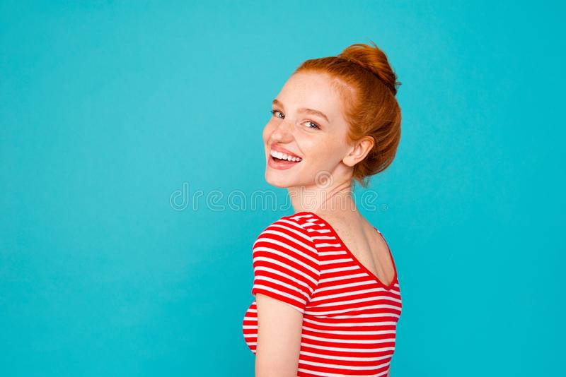 Profile side view portrait of nice stylish adorable attractive p stock photo