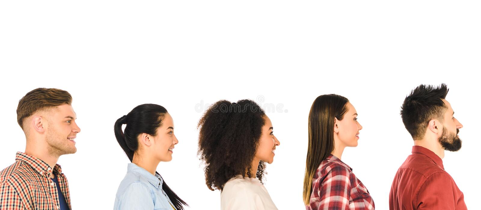 profile of smiling milticultural group of people isolated stock photos
