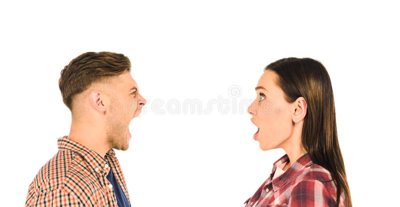 profile of surprised girl and screaming man  isolated stock photos