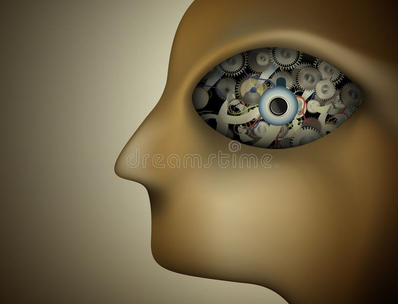 Profile of surrealistic robot, mechanism in the big eye, robot portrait, mechanic inside the head stock illustration