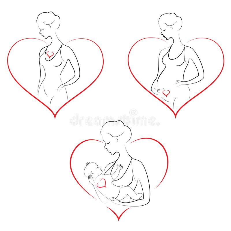 Profile of a sweet lady. Silhouette of the girl, she holds the baby in her arms. A young and beautiful woman. Happy motherhood. stock illustration