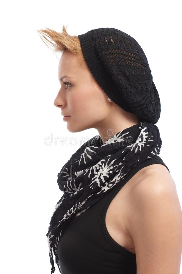 Profile of trendy young woman royalty free stock image