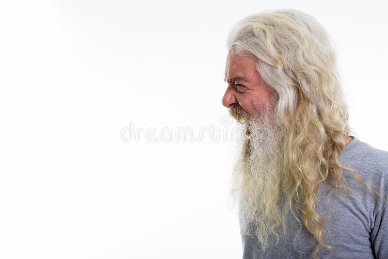 Profile view of angry senior bearded man looking furious while s. Houting royalty free stock images