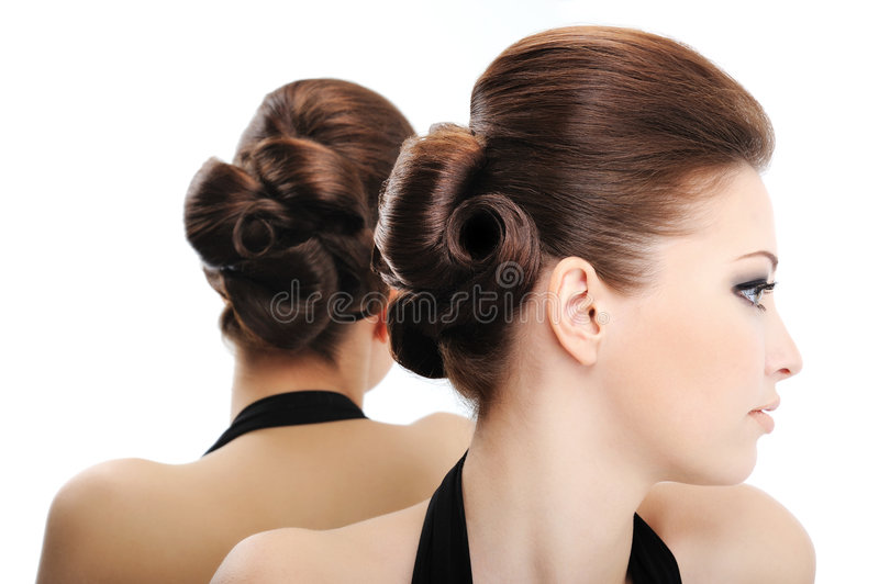 Profile view of beauty curly hairstyle. Isolated on white royalty free stock images