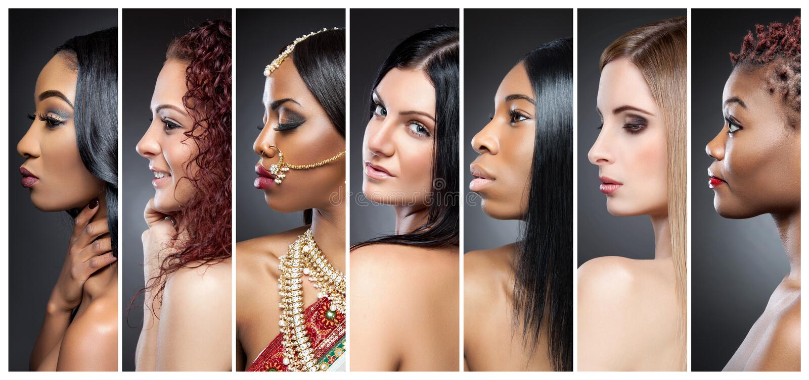 Profile view collage of multiple women with various skin tones. Profile view collage of multiple beautiful women with various skin tones royalty free stock photo