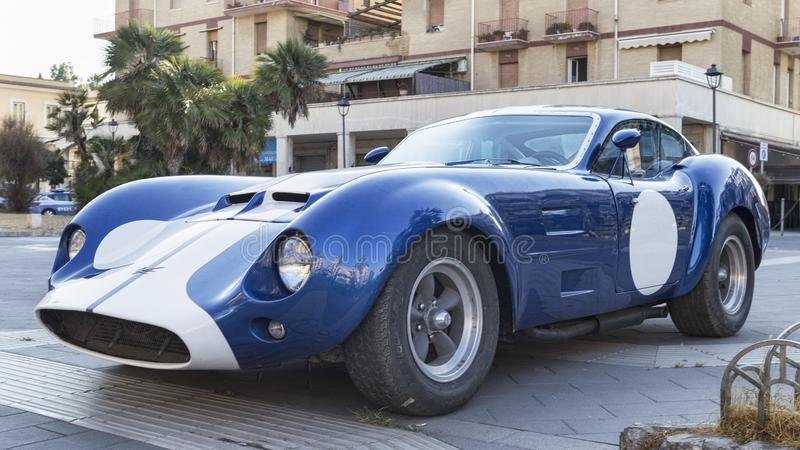 Profile view of the famous American racing car model Kellison in blue and white color. Rome,Italy - July 21, 2019:On occasion of  Rome capital city Rally event stock photos