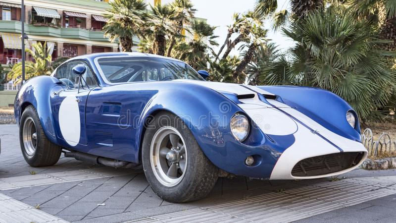 Profile view of the famous American racing car model Kellison in blue and white color. Rome,Italy - July 21, 2019:On occasion of  Rome capital city Rally event royalty free stock images