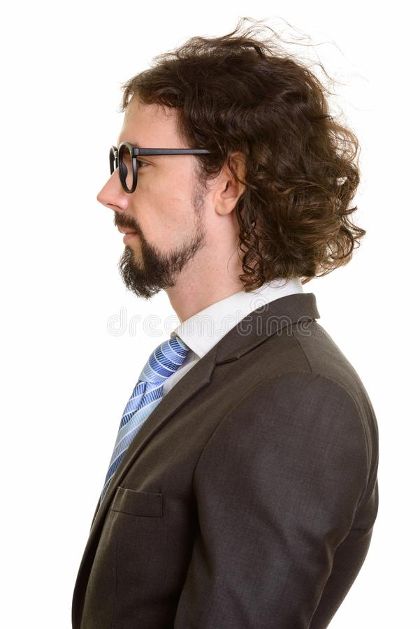 Profile view of handsome Caucasian businessman face royalty free stock photos