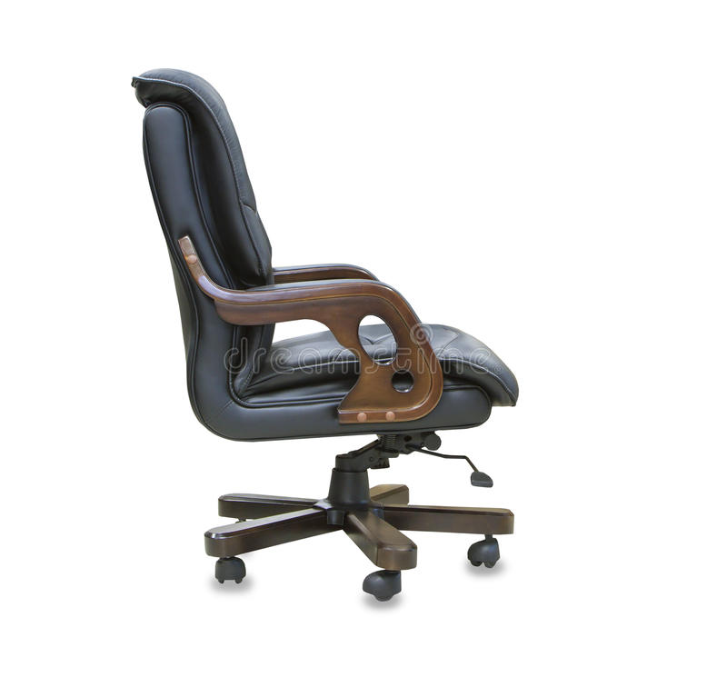 The profile view office chair from black leather. Isolate royalty free stock images