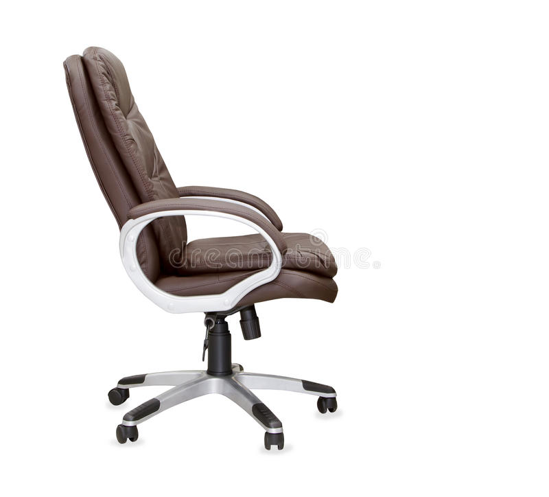 Profile view of office chair from brown leather. Isolated royalty free stock photos