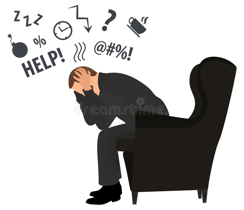 Profile view of overworked businessman. Headache concept.  Business stress. Flat style modern vector illustration. Man Has Clasped stock illustration