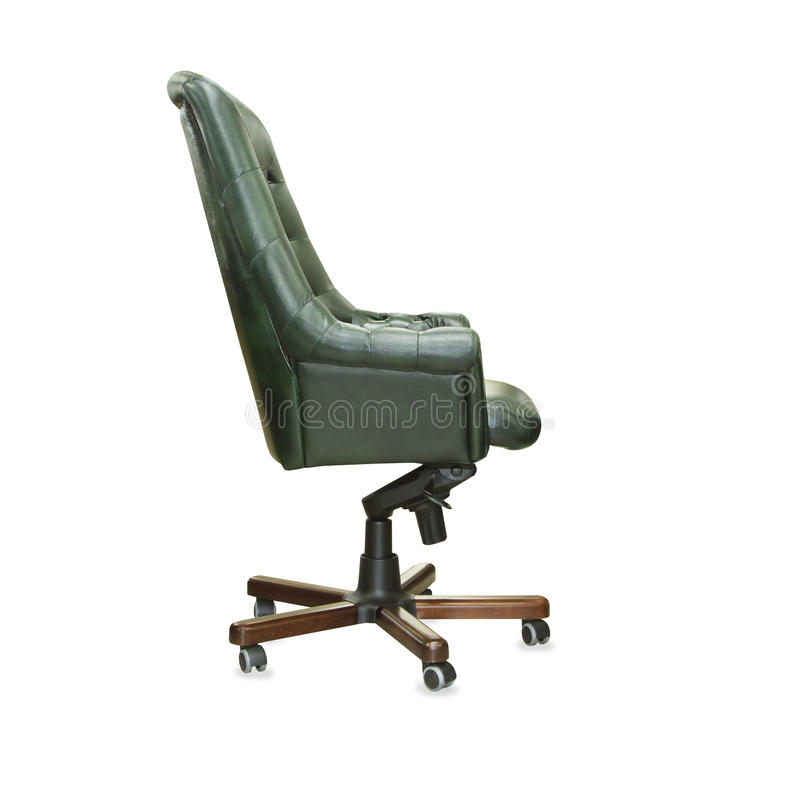 Profile view of president office chair from green leather. I royalty free stock image