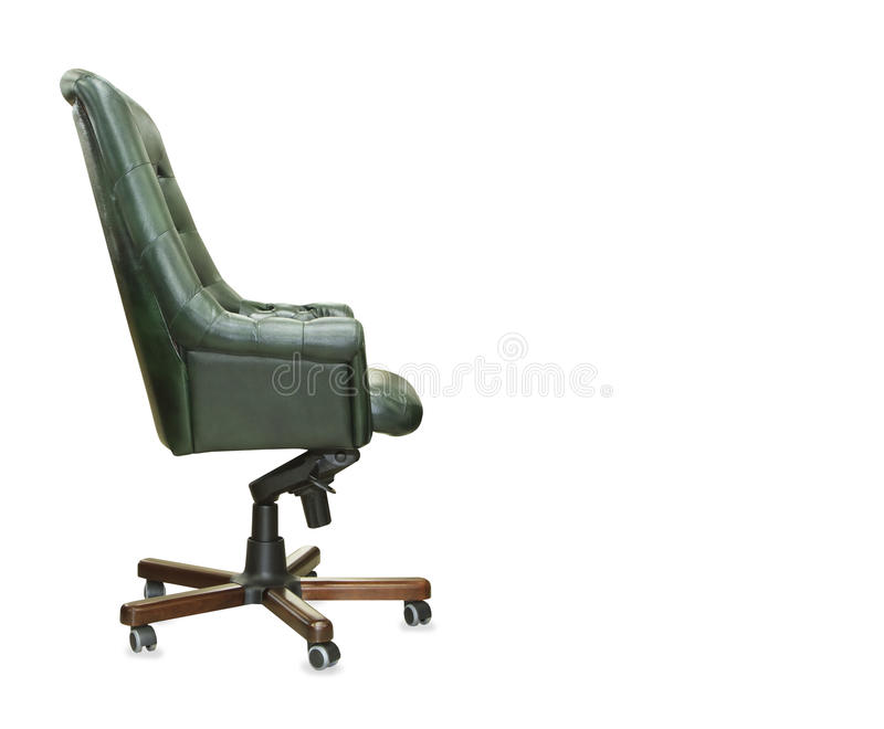 Profile view of president office chair from green leather. I royalty free stock photo