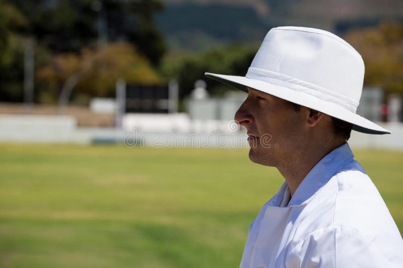 Profile view of umpire standing at field during cricket match royalty free stock image