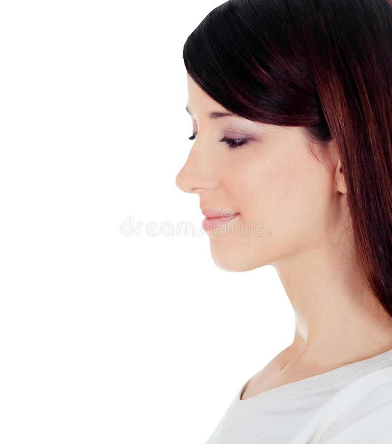Profile view of young woman isolated over white royalty free stock photos