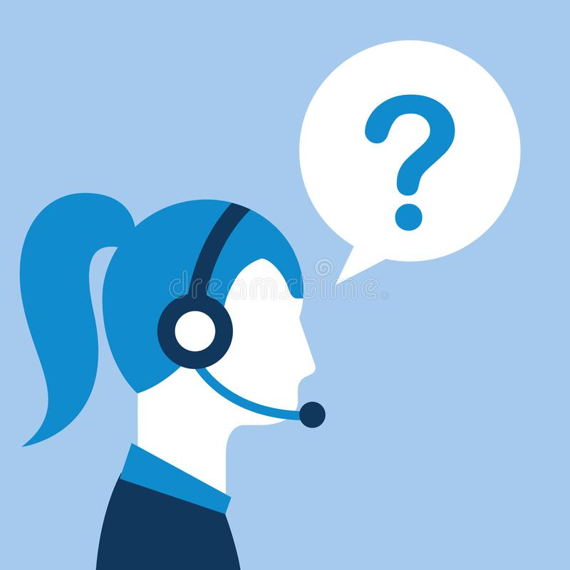 Profile woman agent headset question mark customer service. Vector illustration royalty free illustration