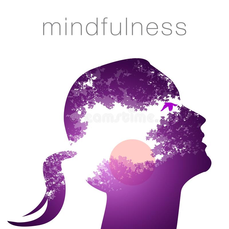 Profile of a woman mindfulness royalty free illustration