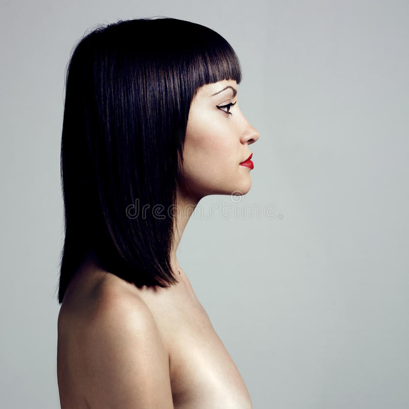 Download Profile Of Woman With Strict Hairstyle Stock Photo - Image: 10299428