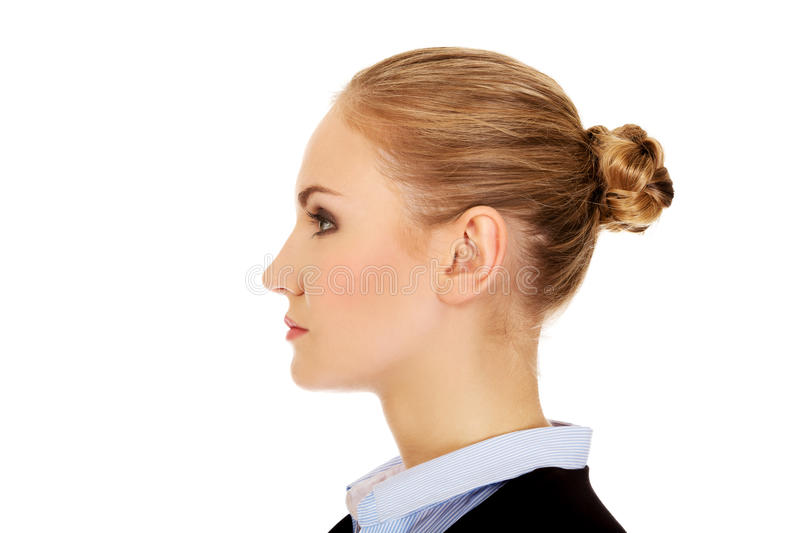 Profile of young blonde business woman stock photos