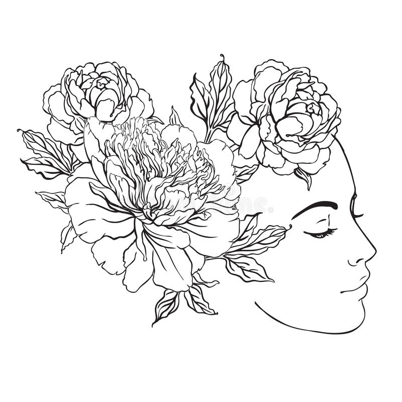 Profile of a young girl with peonies in her hair. Hand drawn vector fashion illustration black outlines isolated on white. Female vector illustration