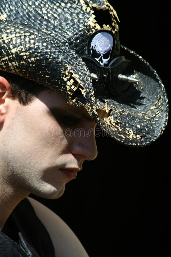 Profile of Young Goth Man stock photography