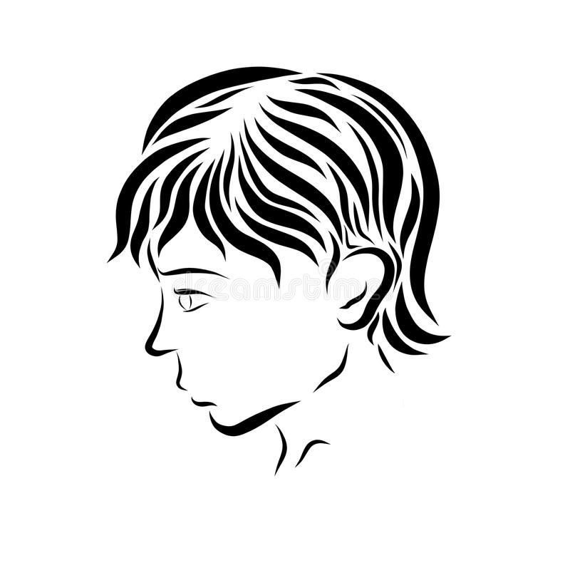 Profile of a young handsome man or boy.  royalty free illustration