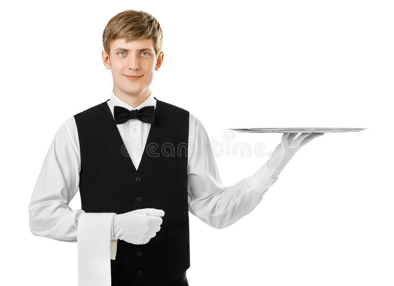 Profile of young handsome waiter holding empty tray with copy sp royalty free stock photography