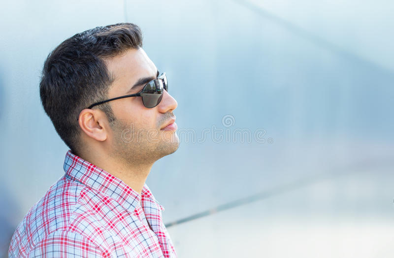 Profile of a young man. Close up handsome man. Profile - portrait of a attractive gorgeous guy stock images