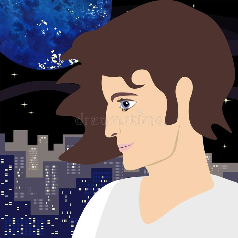 Profile of young man with an expressive look on the background of big city and night sky with planets and stars. Square illustration in vector, flat style royalty free illustration