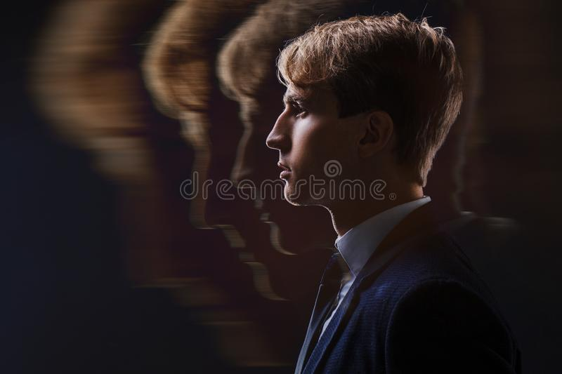 Profile of a young man with mental activity brain and consciousness. Profile of a young man with mental activity brain and consciousness, black background royalty free stock photos