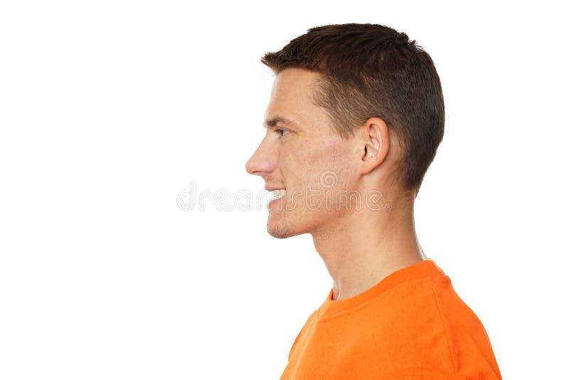 Profile of young man at shirt stock image