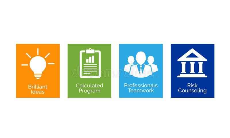 Profiler för vektorillustrationaffär undersöker idéer, planläggning, yrkesmässigt lagarbete och riskanalys stock illustrationer