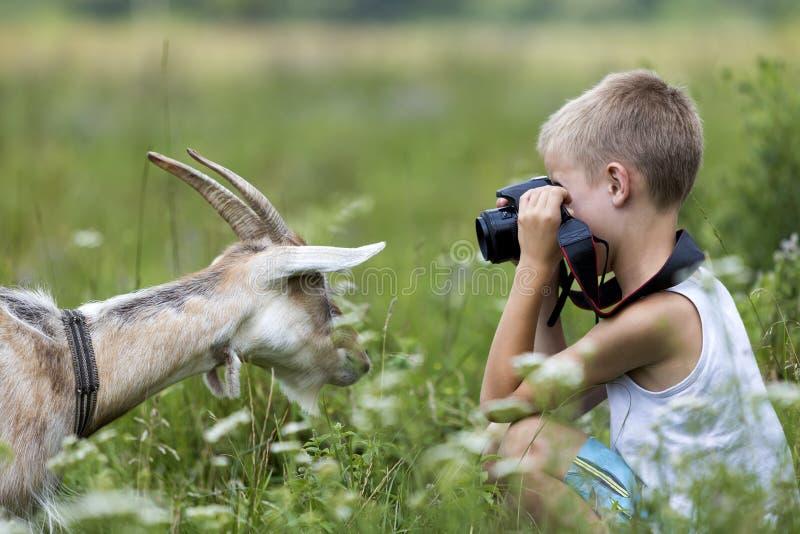 Profilera ståenden av den unga blonda gulliga stiliga barnpojken som tar p fotografering för bildbyråer