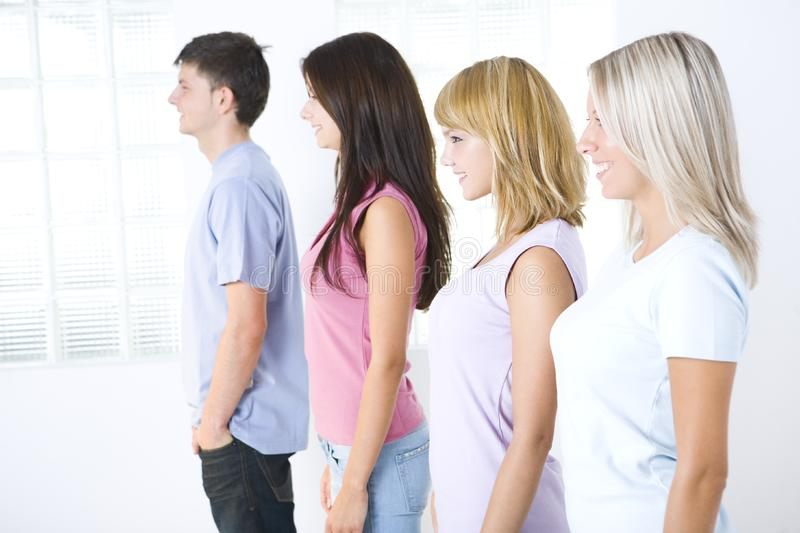 The Profiles Of Friends Stock Photos