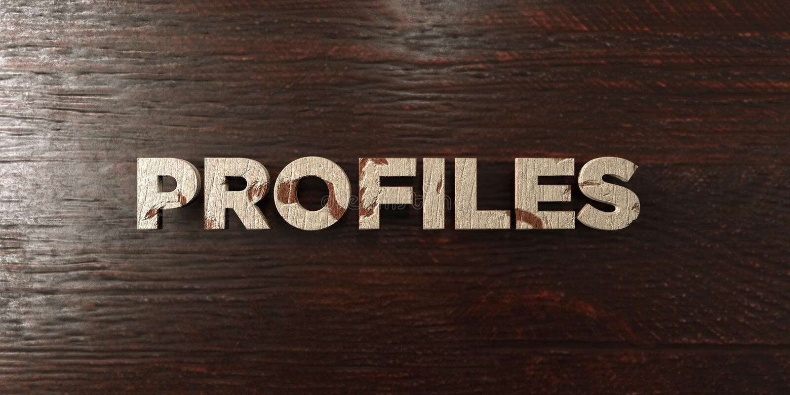 Profiles - grungy wooden headline on Maple - 3D rendered royalty free stock image. This image can be used for an online website banner ad or a print postcard royalty free illustration