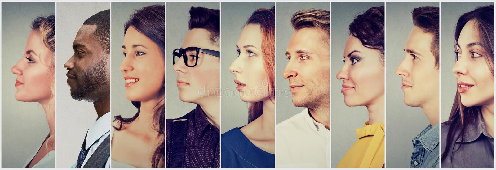 Profiles of multicultural people men and women royalty free stock photo